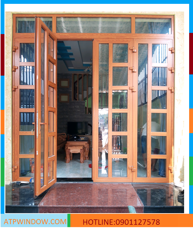 cửa nhôm vân gỗ đẹp